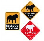 """I Love Bulldog"" Dog in Car Bumper Stickers (3 Decal Pack)"