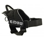 DT Fun Harness, Will Fetch For Food, Black with Reflective Trim, Large – Fits Girth Size: 32-Inch to 42-Inch