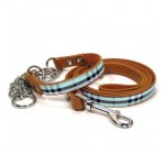 Scottish-plaid Style Genuine Leather Pet Collar with Leash (Blue)
