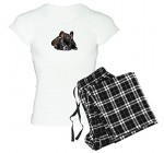 CafePress French Bulldog Pajamas Women's Light Pajamas – M With Checker Pant