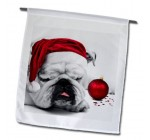 3dRose fl_62826_1 Sleeping Bulldog in a Santa Hat Christmas Card Photo Courtesy of Esther Matheus Garden Flag, 12 by 18-Inch