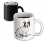 3dRose Cute and Cuddly Canine Sitting French Bulldog Magic Transforming Mug, 11-Ounce