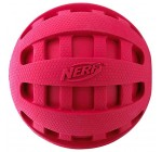 Nerf Dog Checker Squeak Rubber Ball Dog Toy, Small/Medium, Red