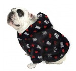 English Bulldog Dog Sweatshirt Bigger Than Beefy (56 to 80 Pounds) White Skulls Red Hearts on Black Reviews